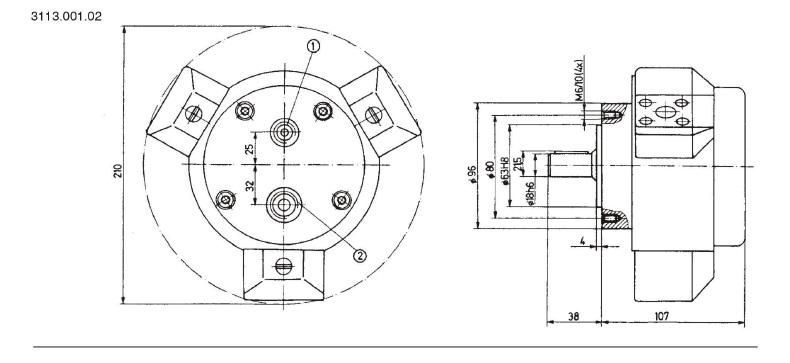 Установочные чертежи радиально-поршневого насоса 3113.001.02 (размеры в мм)