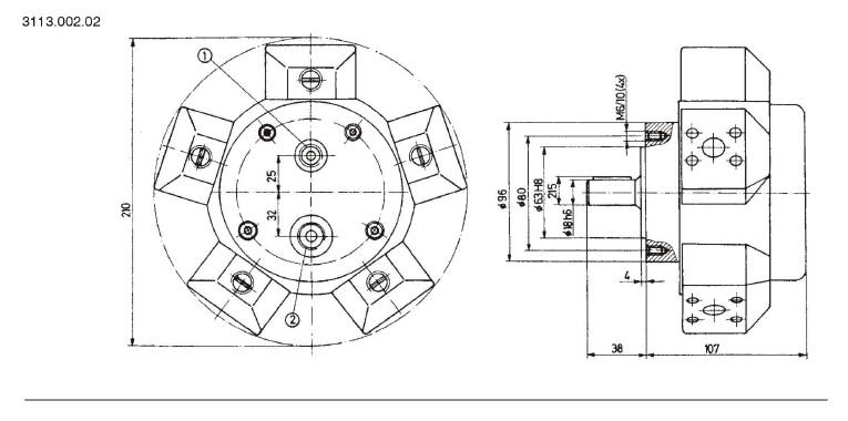 Установочные чертежи радиально-поршневого насоса 3113.002.02 (размеры в мм)