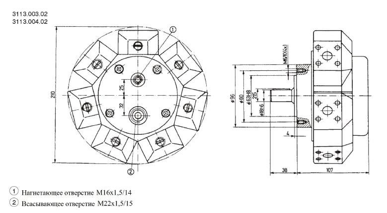 Установочные чертежи радиально-поршневого насоса 3113.003.02 (размеры в мм)
