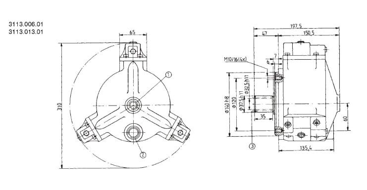 Установочные чертежи радиально-поршневого насоса 3113.006.01 (размеры в мм)