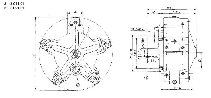 Установочные чертежи радиально-поршневого насоса 3113.021.01 (размеры в мм)
