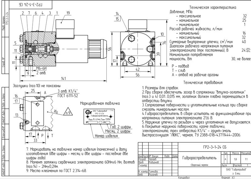 Схема гидрораспределителя ГР-2-3-1 - 24 вольт