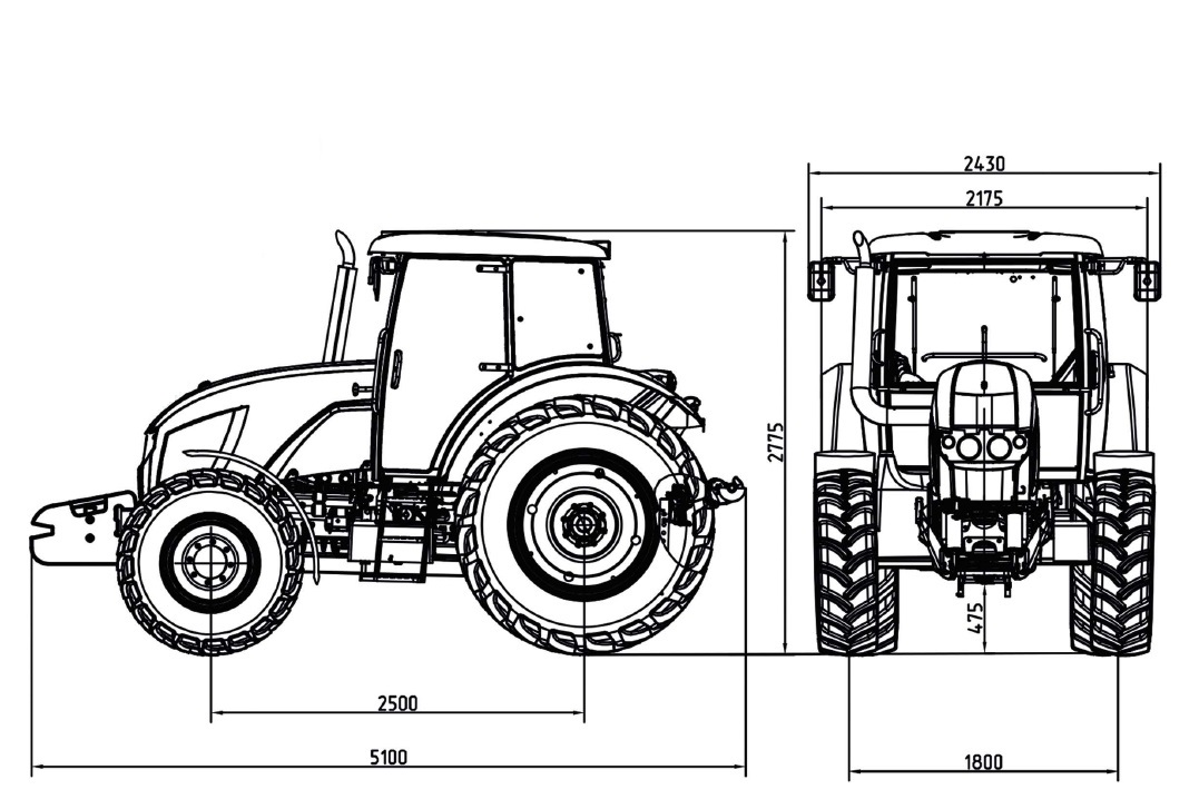 Габаритные размеры многофункционального трактора ZETOR ANT4135F
